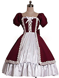 cheap -Princess Sweet Lolita Dress Women's Girls' Cotton Japanese Cosplay Costumes Red Solid Colored Puff / Balloon Sleeve Short Sleeve Knee Length