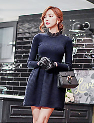 cheap -Women's Daily / Holiday / Going out Vintage / Sophisticated A Line / Sheath / Sweater Dress - Solid Colored / Patchwork Ruffle / Ruched Crew Neck Fall Navy Blue M L XL