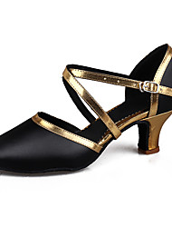cheap -Women's Latin Shoes / Ballroom Shoes / Salsa Shoes Patent Leather / Leatherette Buckle Sandal / Heel Buckle Cuban Heel Customizable Dance Shoes Black / Gold / Black / Silver / Indoor / Performance