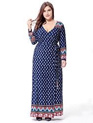 cheap -Women's Plus Size Boho Maxi Swing Dress - Paisley Print Deep V Spring Cotton Blue XXXXL XXXXXL XXXXXXL
