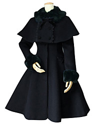 cheap -Princess Sweet Lolita Winter Cape Coat Women's Girls' Lace Cotton Japanese Cosplay Costumes Plus Size Customized Black Ball Gown Solid Colored Long Sleeve Medium Length