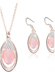 cheap -Women's Opal Jewelry Set Opal Earrings Jewelry Pink For Wedding Party 2pcs / Necklace