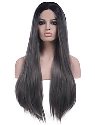 cheap -Synthetic Lace Front Wig Straight Straight Lace Front Wig Long Grey Synthetic Hair Women's Natural Hairline Middle Part Gray