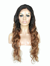 cheap -Remy Human Hair Glueless Lace Front Full Lace Lace Front Wig Beyonce style Brazilian Hair Body Wave Ombre Wig 130% Density with Baby Hair Ombre Hair Natural Hairline African American Wig 100% Hand