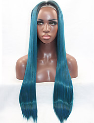 cheap -Synthetic Lace Front Wig Straight Straight Lace Front Wig Blue Synthetic Hair Women's Natural Hairline Blue