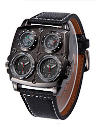 cheap -Men's Sport Watch Fashion Watch Military Watch Quartz Luxury Thermometer Analog White Black Brown / Stainless Steel / Genuine Leather / Compass / Genuine Leather
