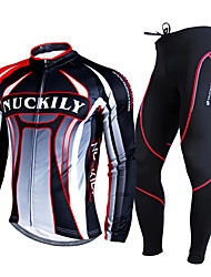 cheap -Nuckily Men's Long Sleeve Cycling Jersey with Tights Black Stripes Bike Clothing Suit Thermal / Warm Breathable 3D Pad Winter Sports Polyester Fleece Stripes Mountain Bike MTB Road Bike Cycling