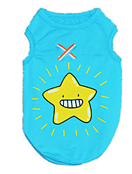 cheap -Dog Shirt / T-Shirt Vest Dog Clothes Cartoon Blue Cotton Costume For Spring &  Fall Winter Men's Women's Casual / Daily