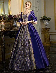 cheap -Rococo Victorian 18th Century Dress Party Costume Masquerade Ball Gown Women's Lace Cotton Costume Ink Blue Vintage Cosplay Party Prom Long Sleeve Floor Length Long Length Ball Gown Plus Size