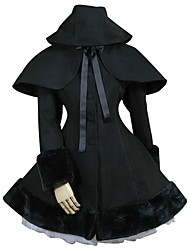 cheap -Princess Winter Sweet Lolita Cape Coat Lace Women's Coat Cosplay Black Long Sleeve Medium Length Halloween Costumes