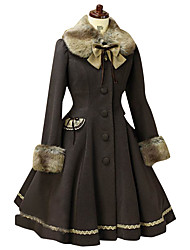 cheap -Princess Sweet Lolita Fur Trim Winter Coat Women's Girls' Lace Cotton Japanese Cosplay Costumes Solid Colored Long Sleeve Medium Length