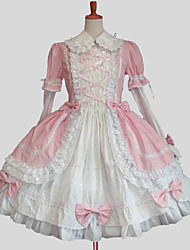 cheap -Princess Sweet Lolita Dress Women's Girls' Cotton Japanese Cosplay Costumes Plus Size Customized Blue / Pink Ball Gown Solid Colored Long Sleeve Knee Length