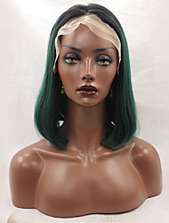 cheap -Synthetic Lace Front Wig Straight Straight Bob Lace Front Wig Green Synthetic Hair Women's Middle Part Bob Natural Hairline Green