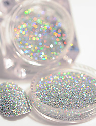 cheap -2g box holographic silver laser nail glitter powder gorgeous shiny dust powder manicure nail art glitter decoration