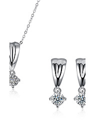 cheap -Women's Diamond Cubic Zirconia Jewelry Set Ladies Luxury Cubic Zirconia Silver Plated Imitation Diamond Earrings Jewelry Silver For Party Daily