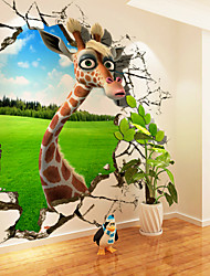 cheap -Nursery Mural Wallpaper Wall Sticker Covering Print Adhesive Required 3D Effect Giraffe Animal Home Décor Canvas
