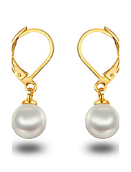 cheap -Women's Girls' Pearl Hoop Earrings Pearl Sterling Silver Imitation Pearl Earrings Jewelry Gold / White / Silver / Black For Wedding Party Daily Casual / Platinum Plated / Gray Pearl