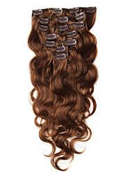 cheap -Clip In Human Hair Extensions Body Wave Virgin Human Hair Human Hair Extensions Brazilian Hair Women's Brown