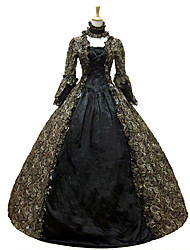 cheap -Rococo Victorian 18th Century Dress Party Costume Masquerade Women's Lace Cotton Costume Dark Green Vintage Cosplay Long Sleeve Floor Length Long Length Ball Gown / Floral