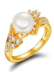cheap -Women's Ring Engagement Ring Pearl Golden Pearl Imitation Pearl Gold Plated Wedding Party Jewelry / 18K Gold