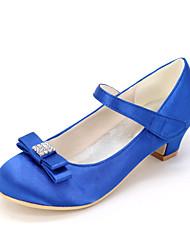 cheap -Girls' Flower Girl Shoes Satin Heels Little Kids(4-7ys) Rhinestone / Bowknot White / Purple / Champagne Spring & Summer / Wedding / Party & Evening / Wedding / TR