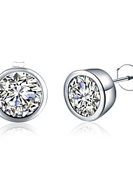 cheap -Women's Diamond Cubic Zirconia Stud Earrings Round Cut Ladies Cubic Zirconia Silver Plated Earrings Jewelry Silver For Party Daily Casual