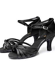 cheap -Women's Dance Shoes Satin Latin Shoes / Salsa Shoes Buckle Sandal Customized Heel Customizable Brown / Gold / Royal Blue / Indoor / Performance / Leather / Practice / Professional