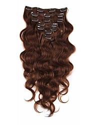 cheap -Clip In Human Hair Extensions Body Wave Virgin Human Hair Human Hair Extensions Brazilian Hair Women's Brown