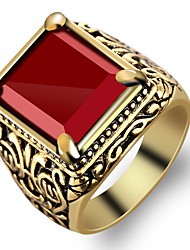 cheap -Men's Ring Signet Ring Red Resin Alloy Fashion Military Party Daily Jewelry Solitaire Emerald Cut High School Rings Class