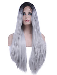 cheap -heat resistant synthetic lace front wig straight hair ombre two tone black white color synthetic hair fiber wigs for woman