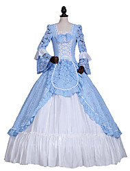 cheap -Princess Rococo Elegant Victorian Dress Women's Girls' Lace Cotton Party Prom Japanese Cosplay Costumes Plus Size Customized Blue Ball Gown Floral Long Sleeve Long Length