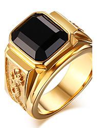cheap -Statement Ring Sapphire Solitaire Golden Red Blue Agate Titanium Steel Asian Vintage Fashion 7 8 9 10 11 / Onyx / Men's