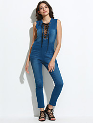 cheap -Women's Lace up Daily Street chic Deep V Blue Jumpsuit, Solid Colored Denim M L XL Sleeveless Summer