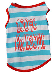 cheap -Dog Vest Dog Clothes Blue Costume Cotton Stripes Casual / Daily XS S M L