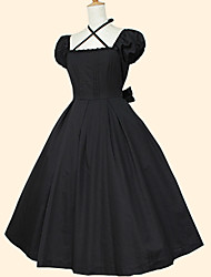 cheap -Rococo Dress Women's Girls' Cotton Japanese Cosplay Costumes Black Solid Colored Short Sleeve Tea Length