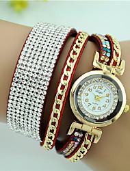 cheap -Women's Bracelet Watch Quartz Leather Black / White / Blue Imitation Diamond Analog Ladies Charm Fashion - Pink Light Blue Khaki One Year Battery Life / Tianqiu 377