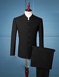 cheap -Men's Daily / Work Chinoiserie Regular Suits, Solid Colored Stand / Notch Lapel Long Sleeve Rayon Black