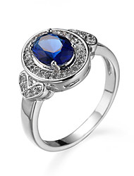 cheap -Women's Ring AAA Cubic Zirconia Blue Zircon Cubic Zirconia Simple Style Casual Jewelry Simulated Cocktail Ring