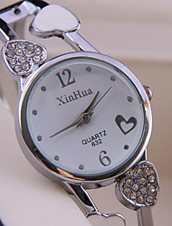 cheap -Women's Fashion Watch Quartz Alloy Band Analog Heart shape Bangle Silver - Silver