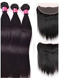 cheap -4 Bundles Brazilian Hair Straight Natural Color Hair Weaves / Hair Bulk Human Hair Weaves Human Hair Extensions / 8A