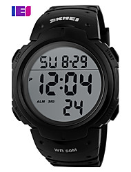 cheap -Men's Sport Watch Skeleton Watch Military Watch Quartz Digital Charm Water Resistant / Waterproof Digital Black Red Dark Green / Silicone / Alarm / Calendar / date / day / LCD / Noctilucent