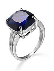 cheap -Women's Ring AAA Cubic Zirconia Blue Zircon Cubic Zirconia Alloy Square Geometric European Fashion Casual Jewelry
