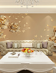 cheap -Mural Wallpaper Wall Sticker Covering Print Adhesive Required 3D Effect Gold Flower Balloon Canvas Home Décor