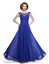 cheap -A-Line Mother of the Bride Dress Elegant Jewel Neck Ankle Length Chiffon Lace Sleeveless with Appliques 2020
