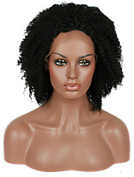 cheap -afro kinky curly synthetic lace front wig black color hair heat resistant synthetic hair fiber wig with adjustable strap back