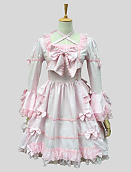 cheap -Princess Sweet Lolita Dress Women's Girls' Lace Cotton Japanese Cosplay Costumes Pink Solid Colored Short Sleeve Knee Length
