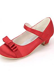 cheap -Girls' Flower Girl Shoes Silk Heels Little Kids(4-7ys) Bowknot Pink / Champagne / Ivory Spring & Summer / Wedding / Party & Evening / Wedding / TR