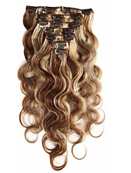 cheap -Clip In Human Hair Extensions Body Wave Human Hair Human Hair Extensions 14-22 inch 7 pieces Women's Strawberry Blonde / 10A