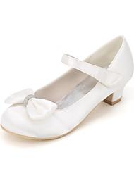 cheap -Girls' Flower Girl Shoes Satin Heels Little Kids(4-7ys) Bowknot White / Purple / Champagne Spring & Summer / Wedding / Party & Evening / Wedding / TR
