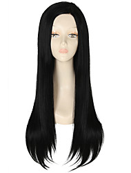 cheap -Synthetic Wig Straight Kardashian Style Lace Front Wig Black Dark Black Synthetic Hair Women's Natural Hairline Black Wig